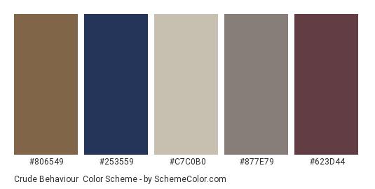 Crude Behaviour - Color scheme palette thumbnail - #806549 #253559 #c7c0b0 #877e79 #623d44
