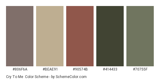 Cry to Me - Color scheme palette thumbnail - #806f6a #beae91 #90574b #414433 #70755f