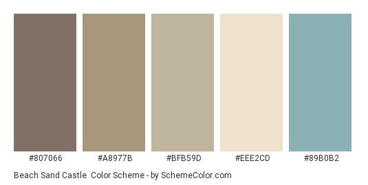 Beach Sand Castle - Color scheme palette thumbnail - #807066 #A8977B #BFB59D #EEE2CD #89B0B2