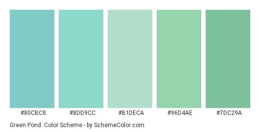 Green Pond - Color scheme palette thumbnail - #80CBC8 #8DD9CC #B1DECA #96D4AE #7DC29A