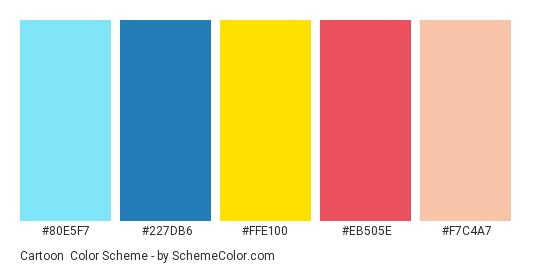 Cartoon - Color scheme palette thumbnail - #80E5F7 #227DB6 #FFE100 #EB505E #F7C4A7