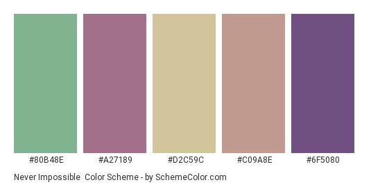 Never Impossible - Color scheme palette thumbnail - #80b48e #a27189 #d2c59c #c09a8e #6f5080