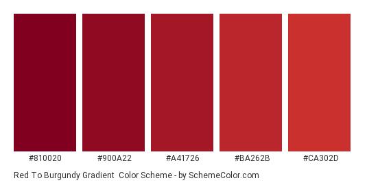 Red to Burgundy Gradient - Color scheme palette thumbnail - #810020 #900a22 #a41726 #ba262b #ca302d