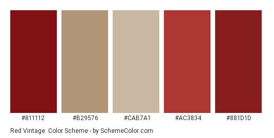 Red Vintage - Color scheme palette thumbnail - #811112 #b29576 #cab7a1 #ac3834 #881d1d