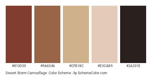 Desert Storm Camouflage - Color scheme palette thumbnail - #813d30 #9a6546 #cfb18c #e3cab9 #2a201e