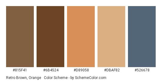 Retro Brown, Orange & Blue - Color scheme palette thumbnail - #815F41 #6B4524 #d89058 #dbaf82 #526678