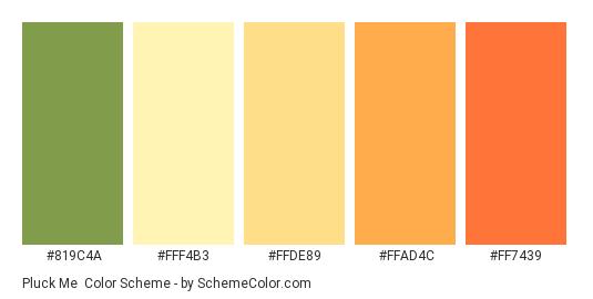Pluck Me - Color scheme palette thumbnail - #819C4A #FFF4B3 #FFDE89 #FFAD4C #FF7439