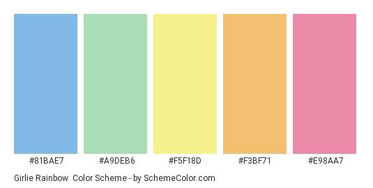 Girlie Rainbow - Color scheme palette thumbnail - #81BAE7 #A9DEB6 #F5F18D #F3BF71 #E98AA7
