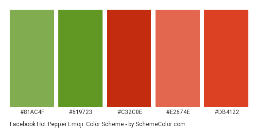 Facebook Hot Pepper Emoji - Color scheme palette thumbnail - #81ac4f #619723 #c32c0e #e2674e #db4122