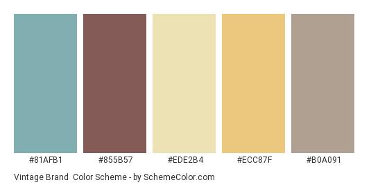 Vintage Brand - Color scheme palette thumbnail - #81afb1 #855b57 #ede2b4 #ecc87f #b0a091