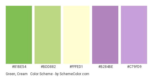 Green, Cream & Violet - Color scheme palette thumbnail - #81be54 #bdd882 #fffed1 #b284be #c79fd9