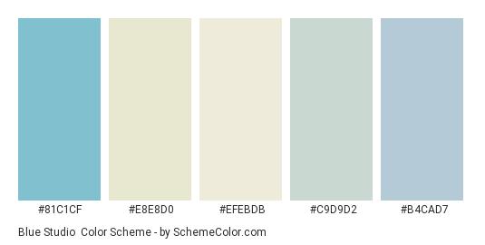 Blue Studio - Color scheme palette thumbnail - #81c1cf #e8e8d0 #efebdb #c9d9d2 #b4cad7