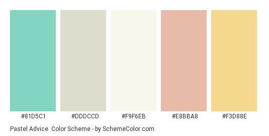 Pastel Advice - Color scheme palette thumbnail - #81d5c1 #dddccd #f9f6eb #e8bba8 #f3d88e