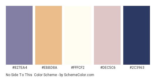 No Side To This - Color scheme palette thumbnail - #827ea4 #ebbd8a #fffcf2 #dec5c6 #2c3963