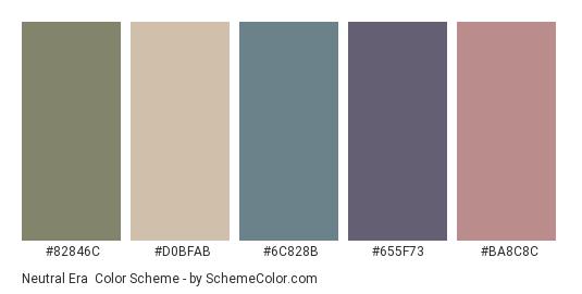 Neutral Era - Color scheme palette thumbnail - #82846C #D0BFAB #6C828B #655F73 #BA8C8C