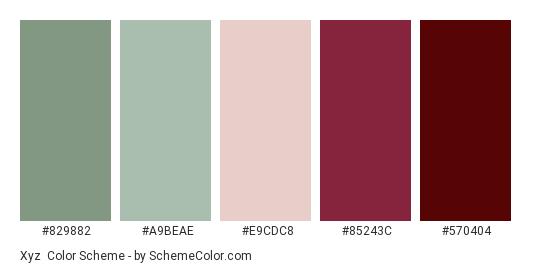 Xyz - Color scheme palette thumbnail - #829882 #a9beae #e9cdc8 #85243c #570404