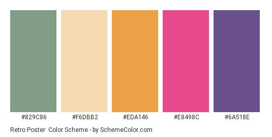 Retro Poster - Color scheme palette thumbnail - #829C86 #F6DBB2 #EDA146 #E8498C #6A518E