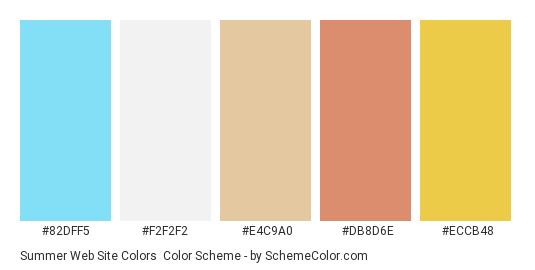 Summer Web Site Colors - Color scheme palette thumbnail - #82dff5 #f2f2f2 #e4c9a0 #db8d6e #eccb48