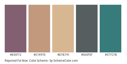 Rejected for Now - Color scheme palette thumbnail - #835f72 #c1997d #d7b791 #565f5f #377c7b