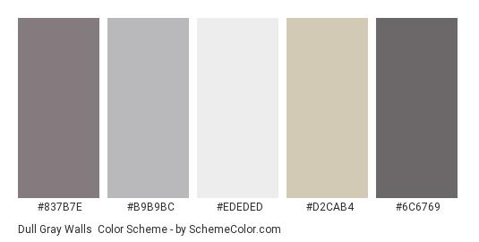 Dull Gray Walls - Color scheme palette thumbnail - #837b7e #b9b9bc #ededed #d2cab4 #6c6769