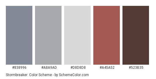 Stormbreaker - Color scheme palette thumbnail - #838996 #A8A9AD #D8D8D8 #A45A52 #523B35