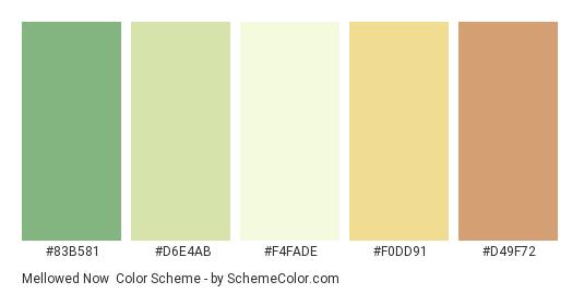 Mellowed Now - Color scheme palette thumbnail - #83B581 #D6E4AB #F4FADE #F0DD91 #D49F72