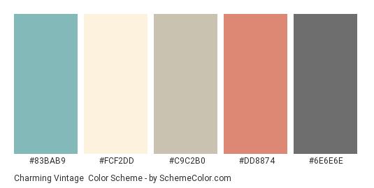Charming Vintage - Color scheme palette thumbnail - #83bab9 #fcf2dd #c9c2b0 #dd8874 #6e6e6e