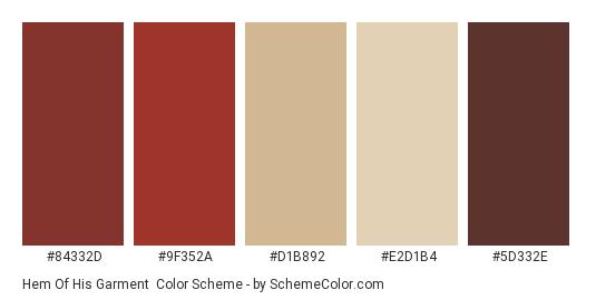 Hem of his Garment - Color scheme palette thumbnail - #84332d #9f352a #d1b892 #e2d1b4 #5d332e