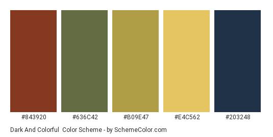 Dark and Colorful - Color scheme palette thumbnail - #843920 #636c42 #b09e47 #e4c562 #203248