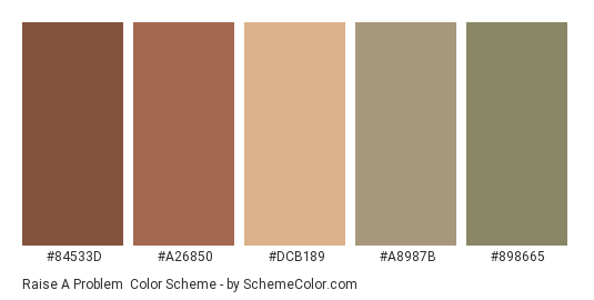 Raise a Problem - Color scheme palette thumbnail - #84533D #A26850 #DCB189 #A8987B #898665