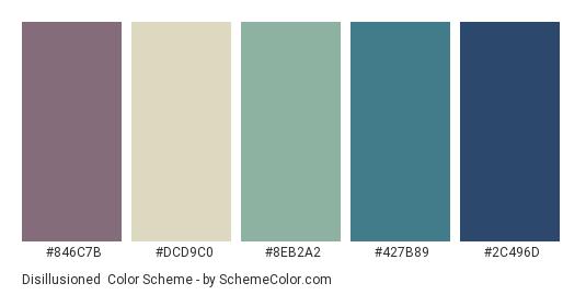 Disillusioned - Color scheme palette thumbnail - #846C7B #dcd9c0 #8eb2a2 #427B89 #2C496D
