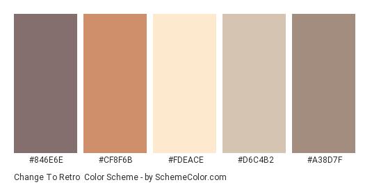 Change to Retro - Color scheme palette thumbnail - #846E6E #CF8F6B #FDEACE #D6C4B2 #A38D7F