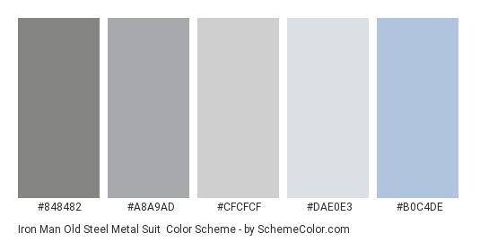 Iron Man Old Steel Metal Suit - Color scheme palette thumbnail - #848482 #A8A9AD #CFCFCF #DAE0E3 #B0C4DE