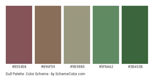 Dull Palette - Color scheme palette thumbnail - #855458 #896f59 #9b9880 #5f8a62 #3b653b