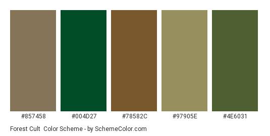 Forest Cult - Color scheme palette thumbnail - #857458 #004d27 #78582c #97905e #4e6031