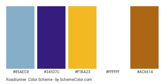 Roadrunner - Color scheme palette thumbnail - #85aec8 #341d7c #f1ba23 #ffffff #ac6614