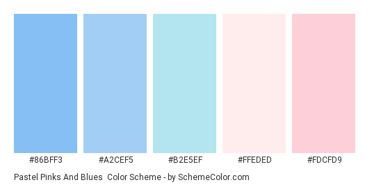 Pastel Pinks and Blues - Color scheme palette thumbnail - #86bff3 #a2cef5 #b2e5ef #ffeded #fdcfd9