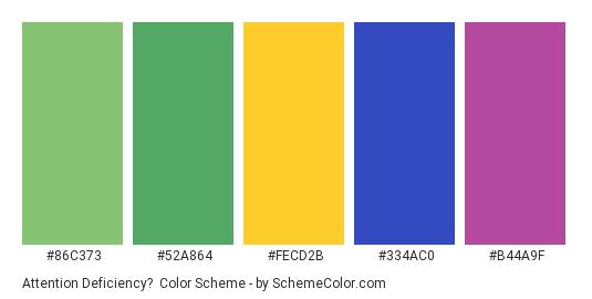 Attention Deficiency? - Color scheme palette thumbnail - #86c373 #52a864 #fecd2b #334ac0 #b44a9f