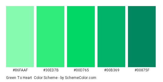 Green To Heart - Color scheme palette thumbnail - #86faaf #30ed7b #00d765 #00b369 #00875f