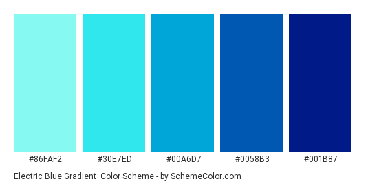 Electric Blue Gradient - Color scheme palette thumbnail - #86faf2 #30e7ed #00a6d7 #0058b3 #001b87