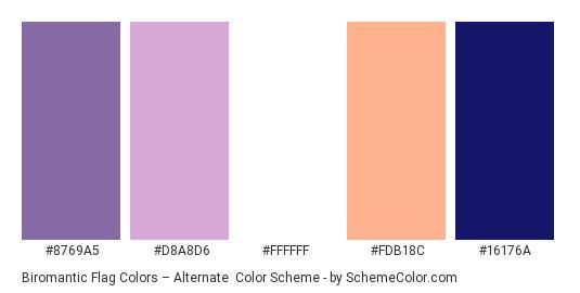 Biromantic Flag Colors – Alternate - Color scheme palette thumbnail - #8769A5 #D8A8D6 #FFFFFF #FDB18C #16176A