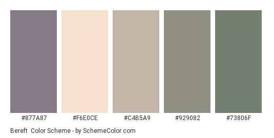Bereft - Color scheme palette thumbnail - #877A87 #F6E0CE #C4B5A9 #929082 #73806F