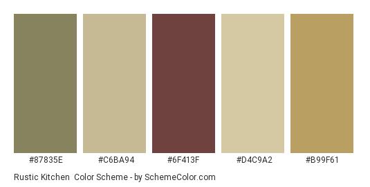 Rustic Kitchen - Color scheme palette thumbnail - #87835e #c6ba94 #6f413f #d4c9a2 #b99f61
