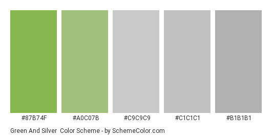 Green and Silver - Color scheme palette thumbnail - #87b74f #a0c07b #c9c9c9 #c1c1c1 #b1b1b1