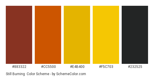 Still Burning - Color scheme palette thumbnail - #883322 #cc5500 #e4b400 #f5c703 #232525