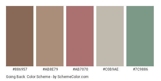 Going Back - Color scheme palette thumbnail - #886957 #ab8e79 #ab7070 #c0b9ae #7c9886