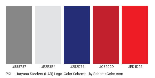 PKL – Haryana Steelers (HAR) Logo - Color scheme palette thumbnail - #888787 #E2E3E4 #252D76 #C3202D #ED1D25
