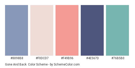 Gone and Back - Color scheme palette thumbnail - #8898b8 #f0dcd7 #f49b96 #4e567d #76b5b0