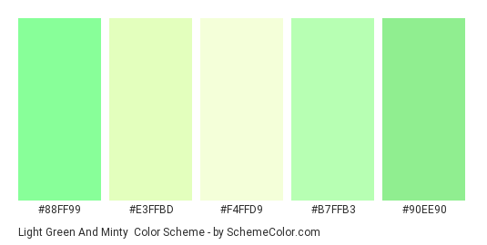 Light Green and Minty - Color scheme palette thumbnail - #88FF99 #E3FFBD #F4FFD9 #B7FFB3 #90EE90