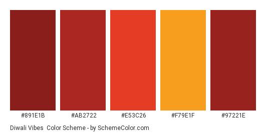 Diwali Vibes - Color scheme palette thumbnail - #891E1B #AB2722 #E53C26 #F79E1F #97221E